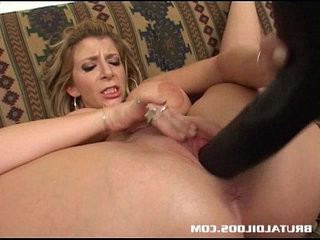 Busty babe sucking and fucking a brutal dildo