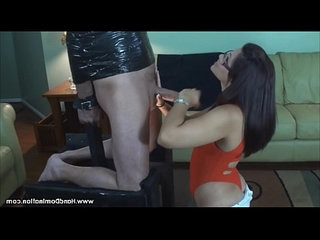 Beautiful spanish girl uses the jaws of life on a huge cock during this femdom b