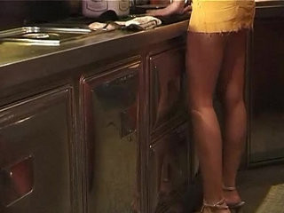 Two brutal customers bangs a sexy amateur blonde working in a bar