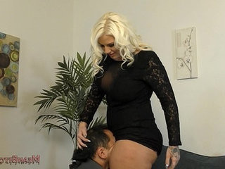Lucky B Sits on Her Slaves Face Femdom Ass Worship