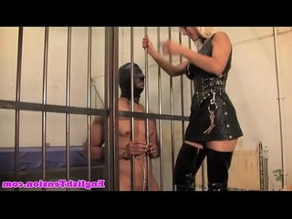 Busty femdom makes sub clean her boots
