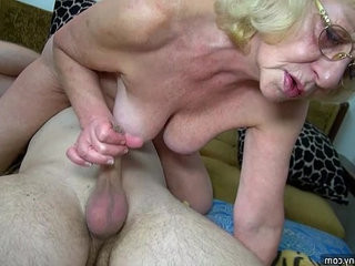 HOT Young guy fucking with strap on OLDNANNY