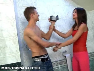Little caprice caught pissing and fucks on camera right in the toilet room